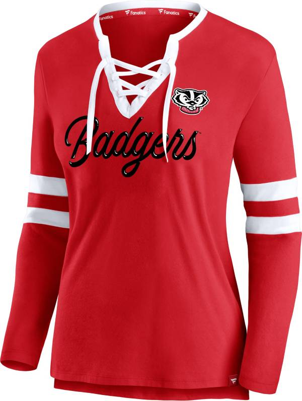 NCAA Women's Wisconsin Badgers Red Lace-Up Long Sleeve T-Shirt product image