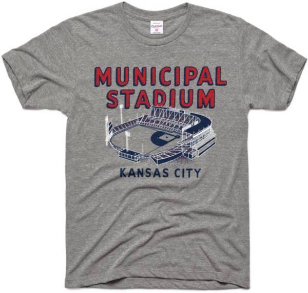 Charlie Hustle Kansas City Monarchs Grey Municipal Stadium Museum T-Shirt product image