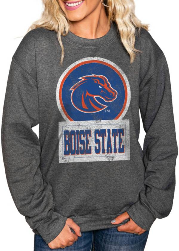 Gameday Couture Women's Boise State Broncos Charcoal 'Good Vibes' Perfect Cozy Crew Pullover Sweatshirt product image