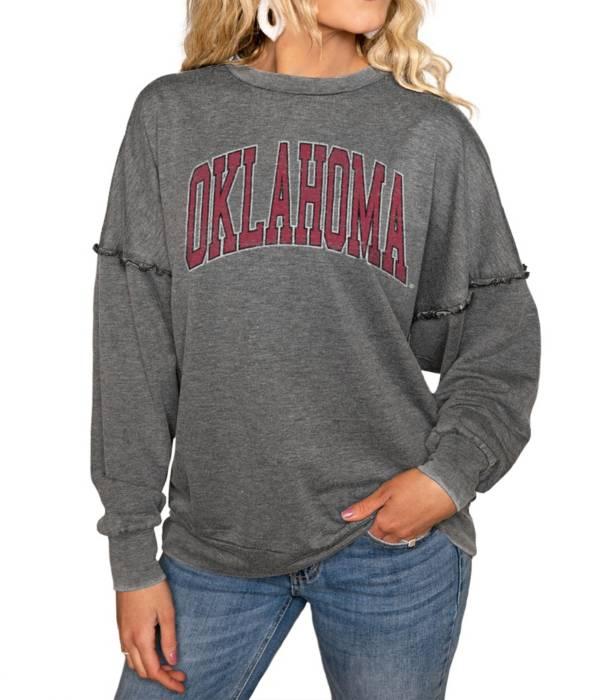 Gameday Couture Oklahoma Sooners Grey Acid Wash Crew Pullover Sweatshirt product image