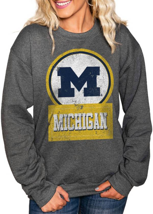 Gameday Couture Women's Michigan Wolverines Charcoal 'Good Vibes' Perfect Cozy Crew Pullover Sweatshirt product image