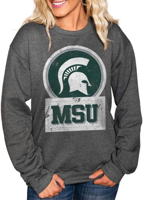 Gameday Couture Women's Michigan State Spartans Charcoal 'Good Vibes' Perfect Cozy Crew Pullover Sweatshirt product image
