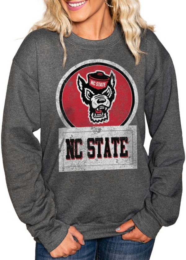 Gameday Couture Women's NC State Wolfpack Charcoal 'Good Vibes' Perfect Cozy Crew Pullover Sweatshirt product image