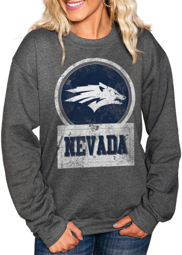 Gameday Couture Women's Nevada Wolf Pack Charcoal 'Good Vibes' Perfect Cozy Crew Pullover Sweatshirt product image