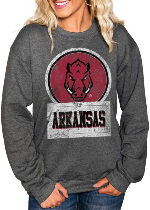 Gameday Couture Women's Arkansas Razorbacks Charcoal 'Good Vibes' Perfect Cozy Crew Pullover Sweatshirt product image