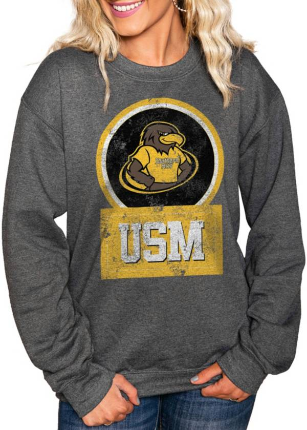 Gameday Couture Women's Southern Miss Golden Eagles Charcoal 'Good Vibes' Perfect Cozy Crew Pullover Sweatshirt product image