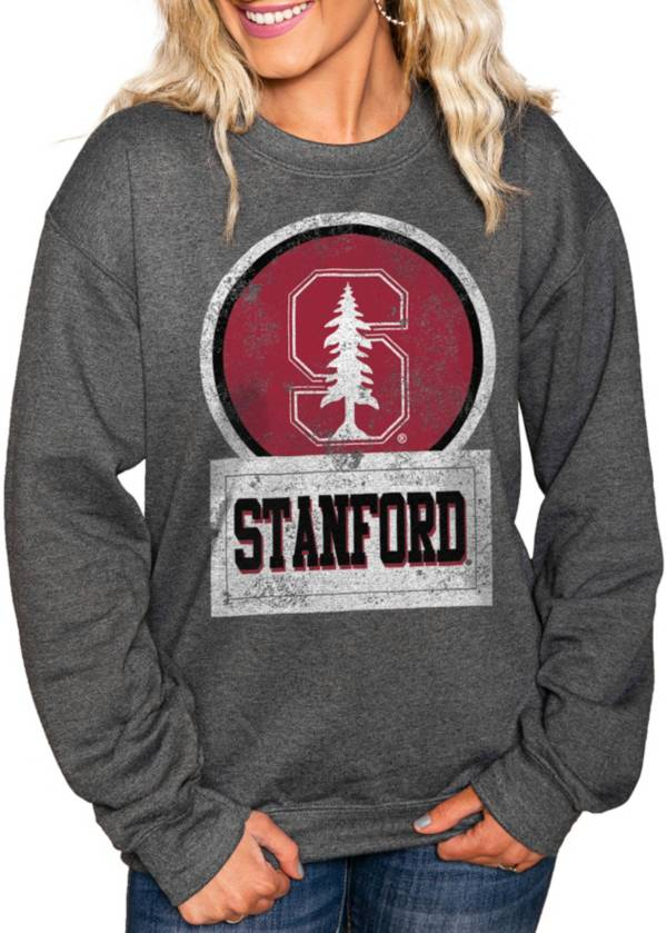 Gameday Couture Women's Stanford Cardinal Charcoal 'Good Vibes' Perfect Cozy Crew Pullover Sweatshirt product image