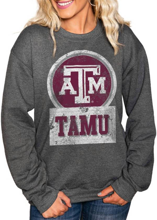 Gameday Couture Women's Texas A&M Aggies Charcoal 'Good Vibes' Perfect Cozy Crew Pullover Sweatshirt product image