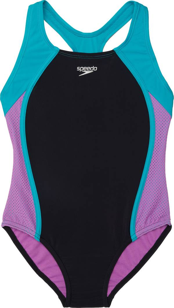 Speedo Girl's Mesh Splice Thick Strap One Piece Swimsuit product image
