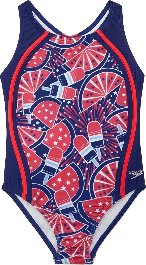 Speedo Girl's Printed Sport Splice One Piece Swimsuit product image