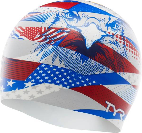 TYR Adult American Eagle Silicone Swim Cap product image