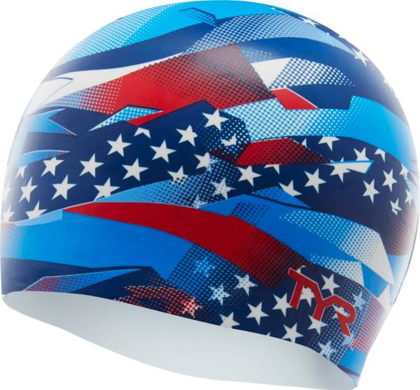 TYR Adult USA Ribbon Silicone Swim Cap product image