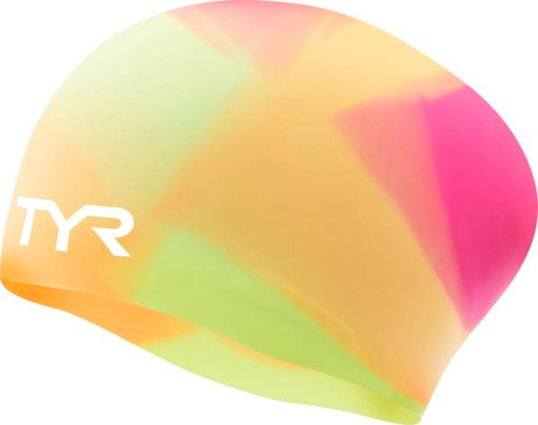 TYR Youth Tie Dye Long Hair Silicone Swim Cap product image