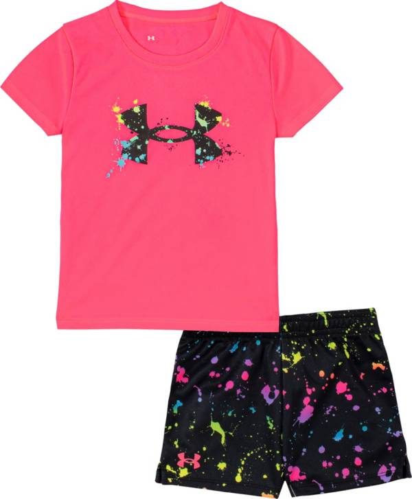 Under Armour Little Girls' Splatter Logo T-Shirt and Shorts Set product image