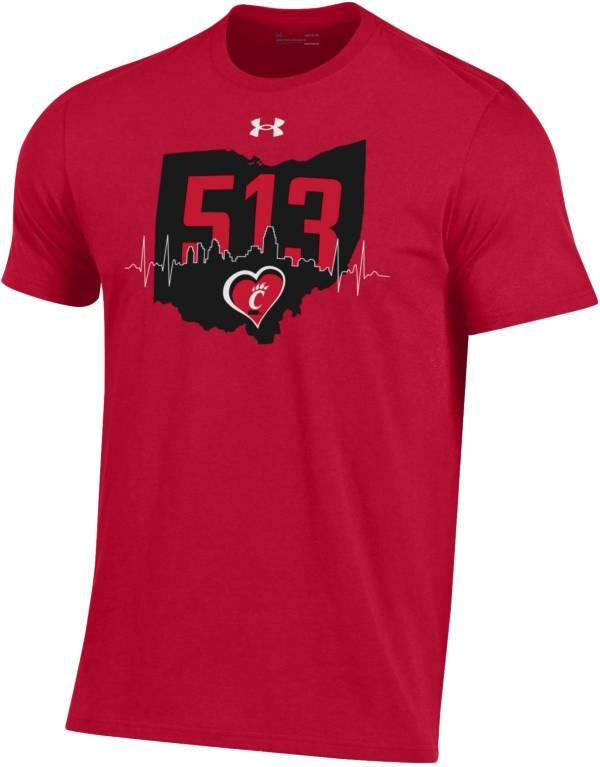 Under Armour Men's Cincinnati Bearcats Red '513' Area Code Performance Cotton T-Shirt product image