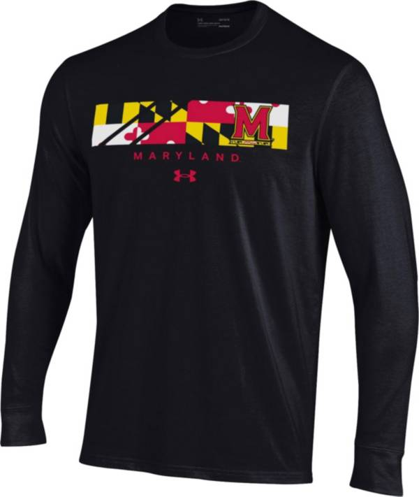 Under Armour Men's Maryland Terrapins Black 'Maryland Pride' Performance Cotton Long Sleeve T-Shirt product image