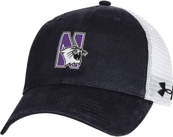Under Armour Men's Northwestern Wildcats Black Washed Adjustable Trucker Hat product image