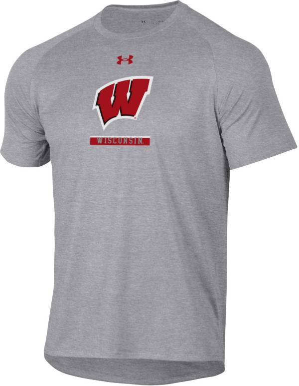 Under Armour Men's Wisconsin Badgers Grey Tech Performance T-Shirt product image