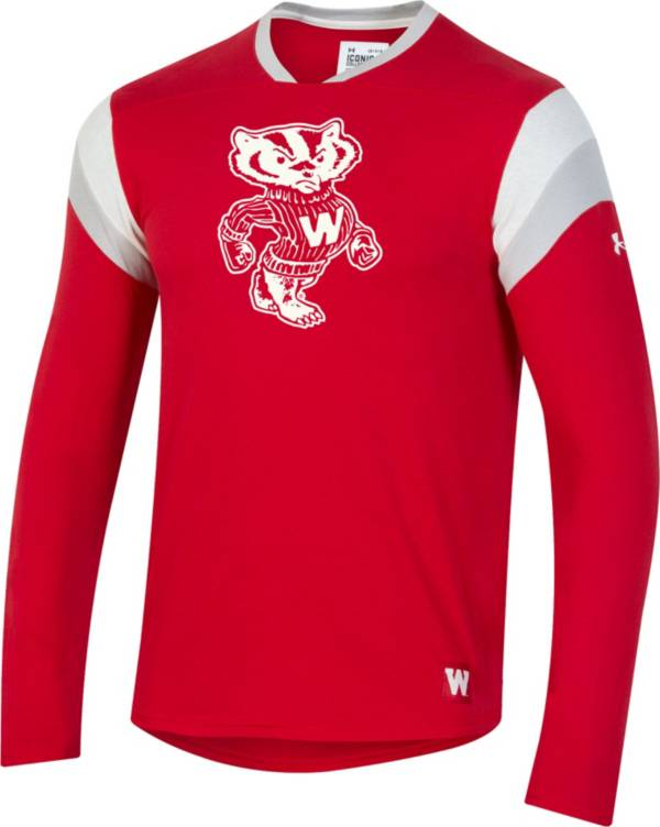 Under Armour Men's Wisconsin Badgers Red Iconic Long Sleeve Performance T-Shirt product image