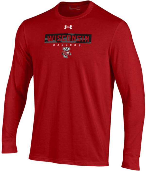 Under Armour Men's Wisconsin Badgers Red Performance Cotton Long Sleeve T-Shirt product image