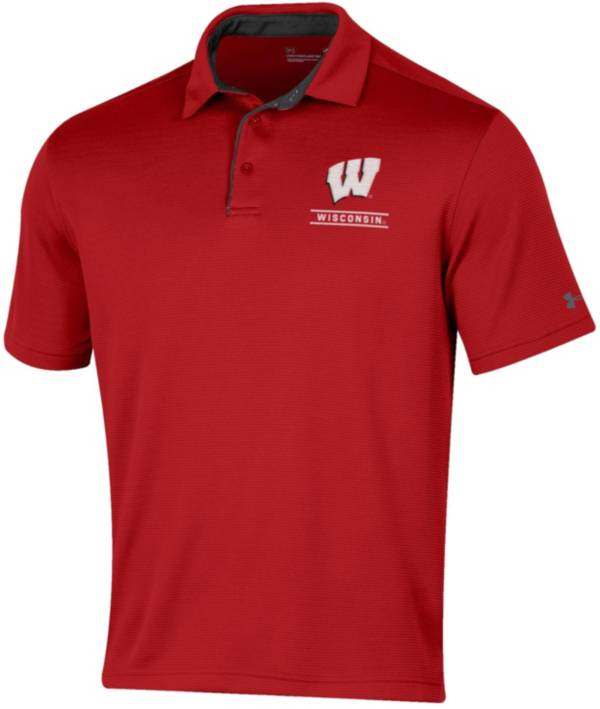 Under Armour Men's Wisconsin Badgers Red Tech Polo product image