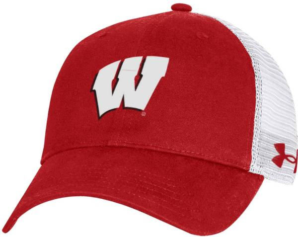 Under Armour Men's Wisconsin Badgers Red Washed Adjustable Trucker Hat product image