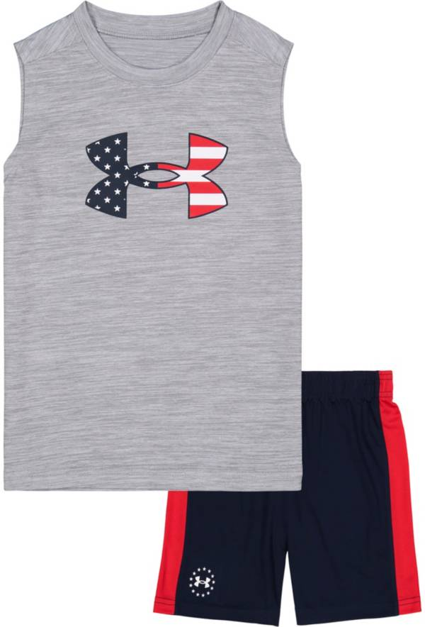 Under Armour Little Boys' Americana Big Logo Muscle Tank Top and Shorts Set product image