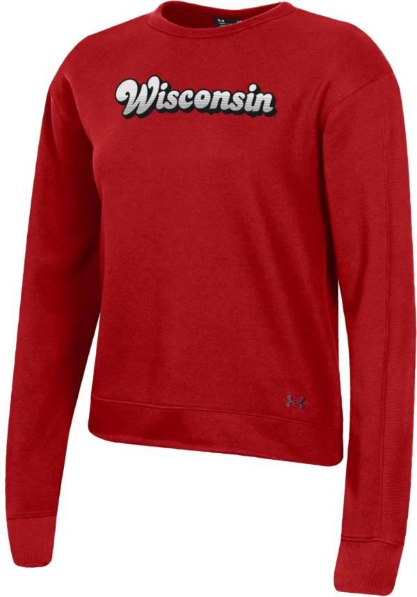 Under Armour Women's Wisconsin Badgers Red All Day Fleece Crew-Neck Sweatshirt product image
