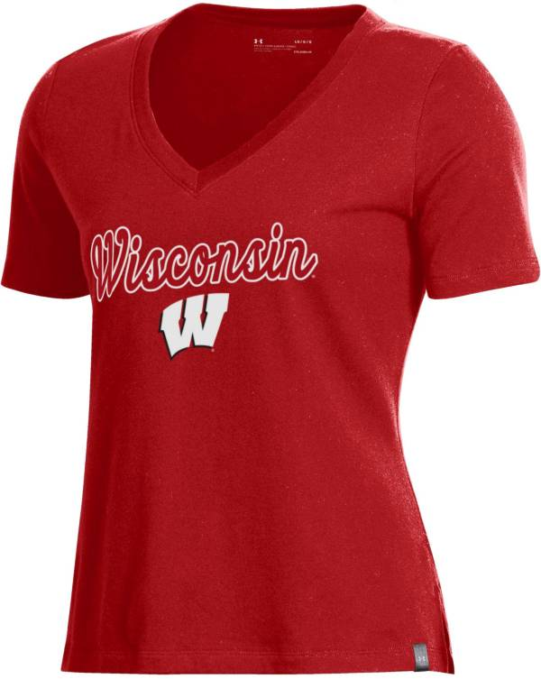 Under Armour Women's Wisconsin Badgers Red Performance V-Neck T-Shirt product image