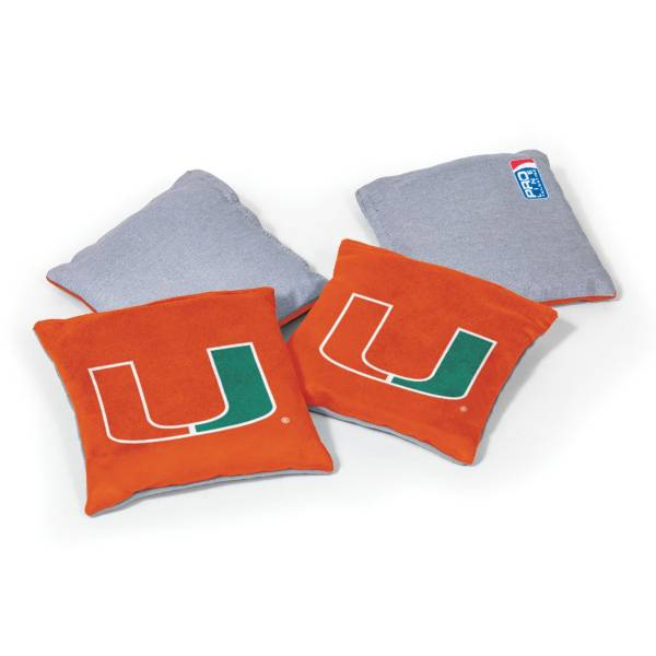 Wild Sports Miami Hurricanes 4 pack Logo Bean Bag Set product image