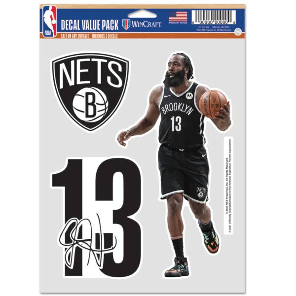 WinCraft Brooklyn Nets James Harden 3 pk. Decal product image