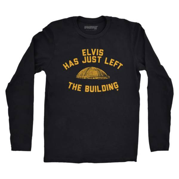 BreakingT Men's 'Elvis Has Just Left The Building' Black T-Shirt product image