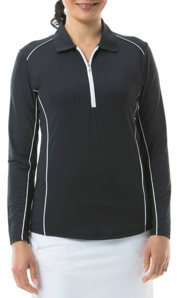 San Soleil Women's Sunglow Long Sleeve Piping Trim Golf Polo product image