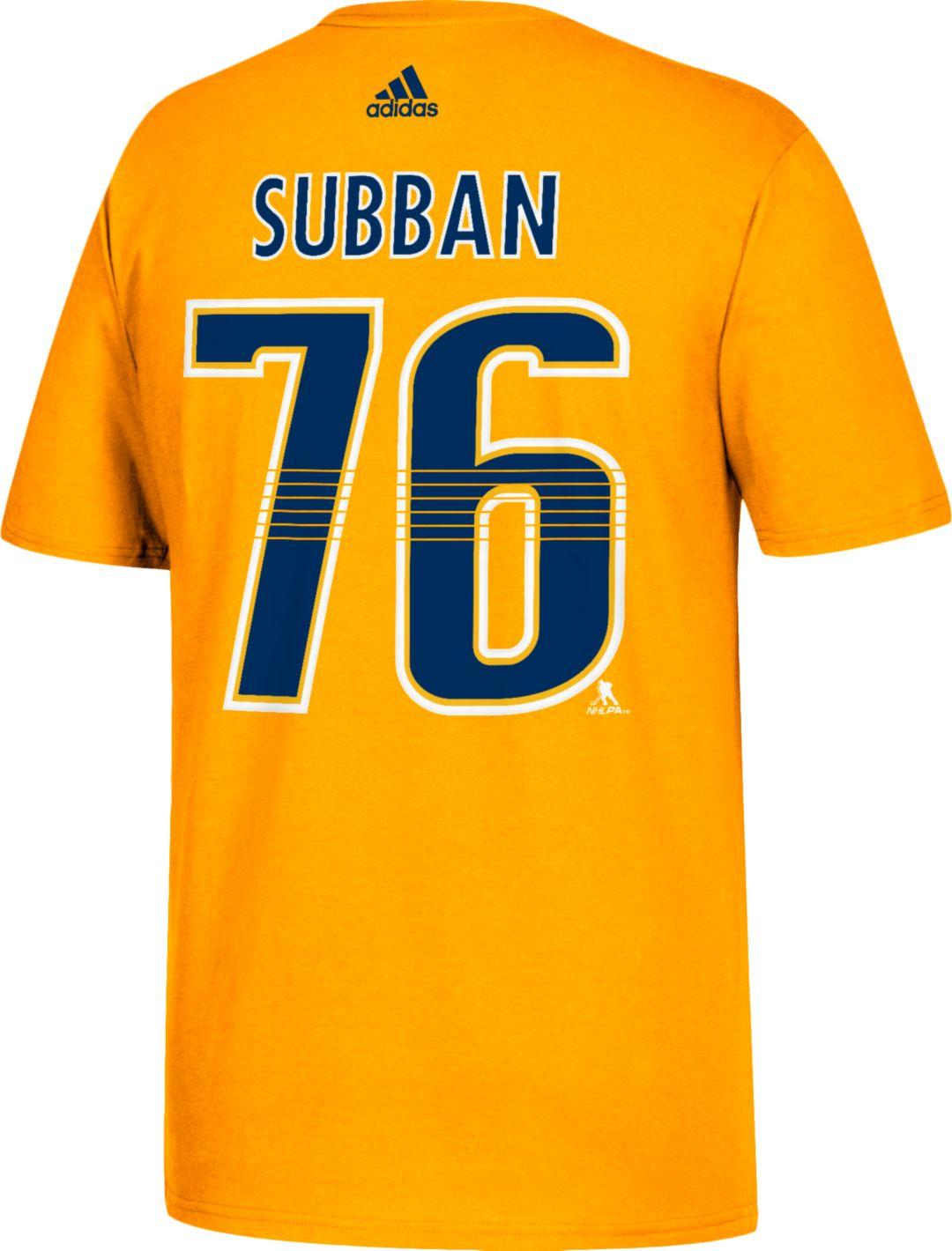 info for f7d3e 4db42 adidas Men's Nashville Predators P.K. Subban #76 Gold T-Shirt