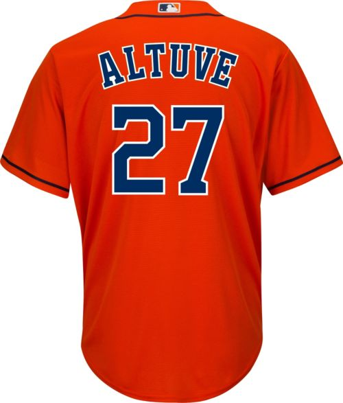 798a290c189 Youth Replica Houston Astros Jose Altuve  27 Alternate Orange Jersey ...