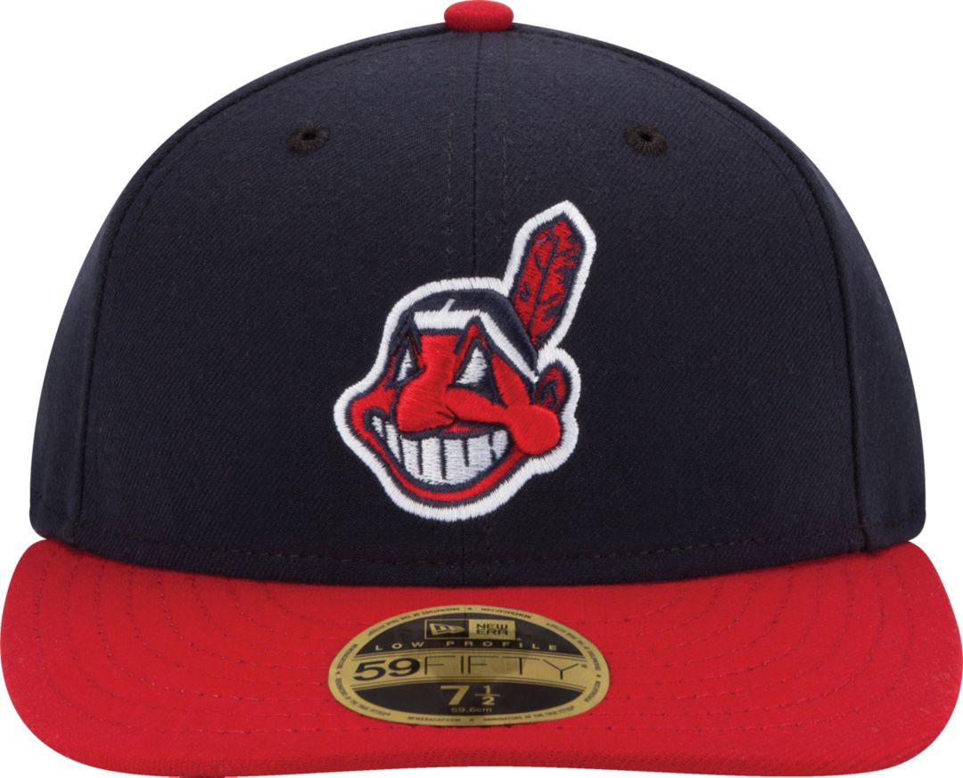 new concept ce2d7 6f522 New Era Men s Cleveland Indians 59Fifty Home Navy Low Crown Authentic Hat