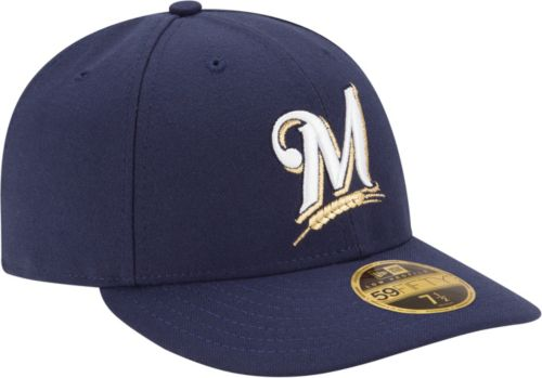 23fc0ae2511 New Era Men s Milwaukee Brewers 59Fifty Game Navy Low Crown Authentic Hat.  noImageFound. Previous. 1. 2. 3