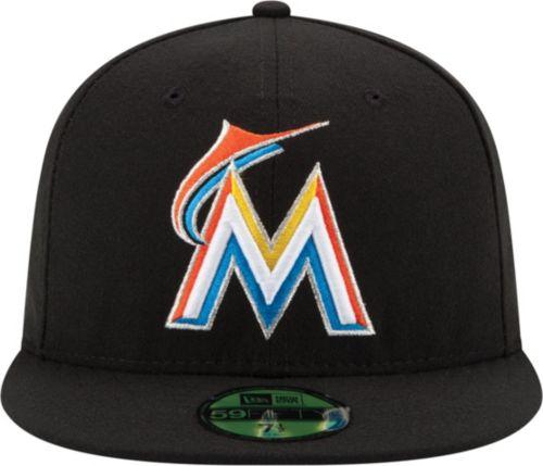 f66970ea1c924 New Era Men s Miami Marlins 59Fifty Home Black Authentic Hat ...