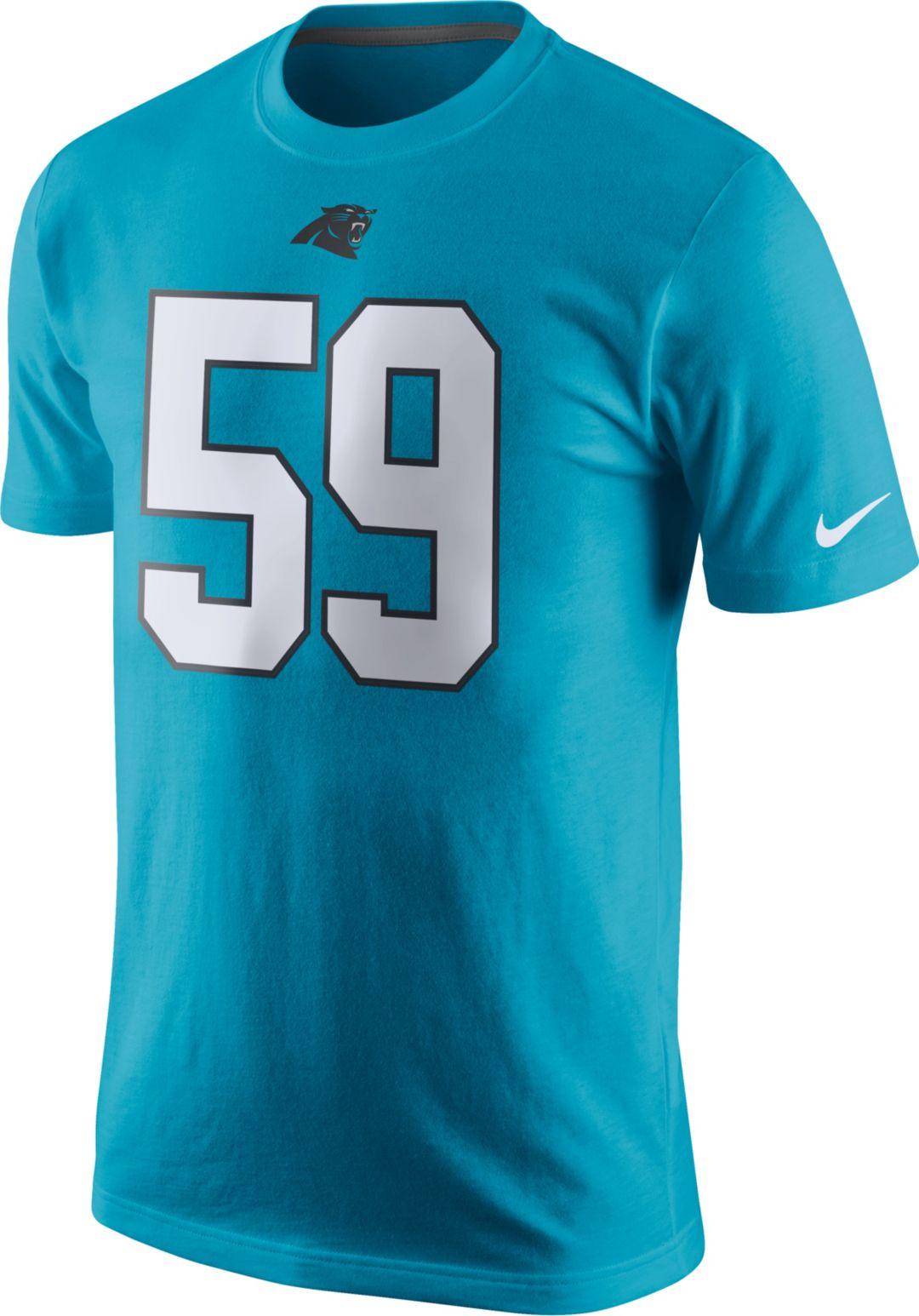 classic 54c2b 9cd15 Nike Men's Carolina Panthers Luke Kuechly #59 Pride Blue T-Shirt