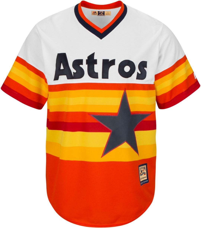 classic b82d1 20812 Majestic Men's Replica Houston Astros Nolan Ryan Cool Base Rainbow  Cooperstown Jersey