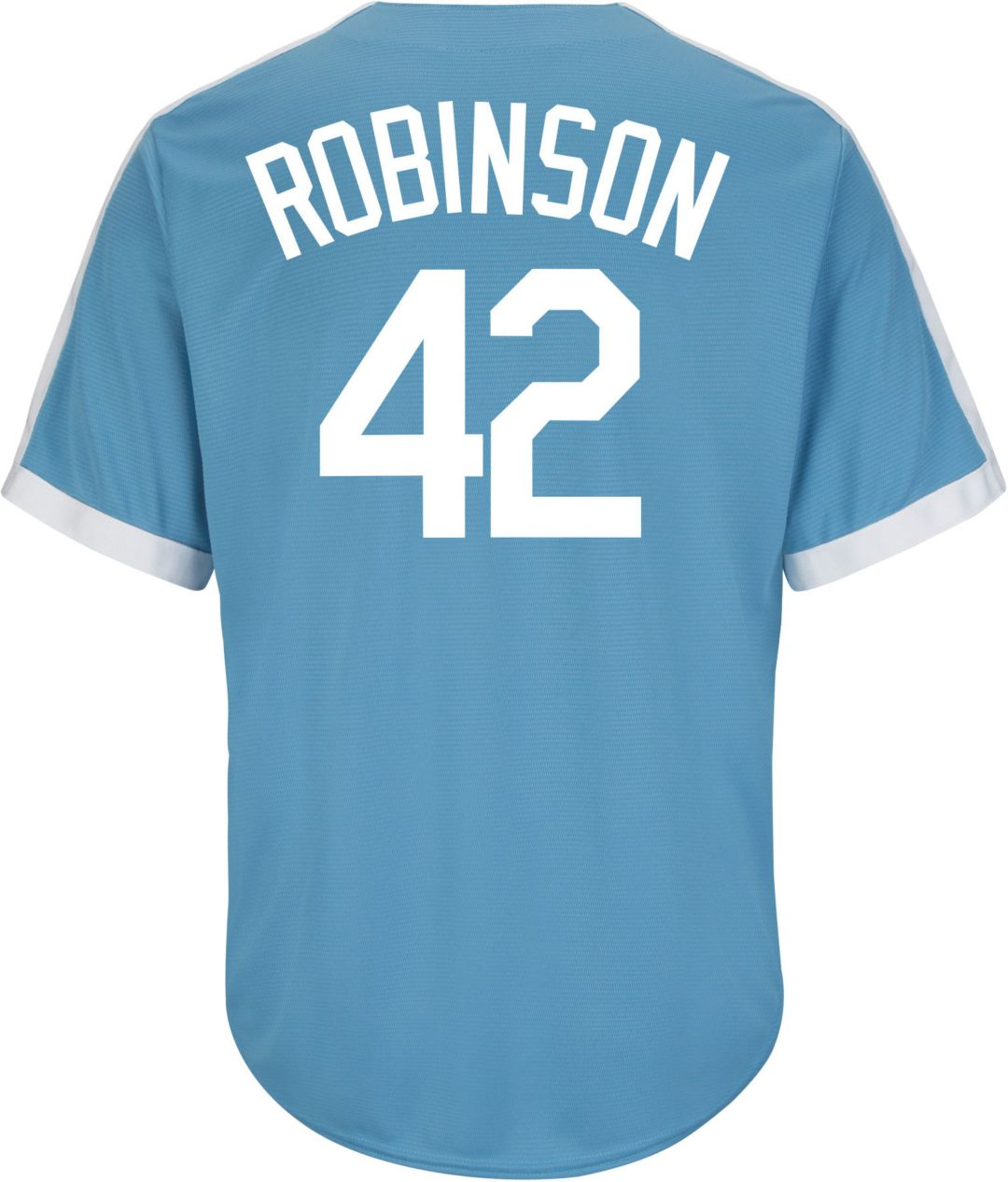 new style f30fb cfc95 Majestic Men's Replica Brooklyn Dodgers Jackie Robinson Cool Base Light  Blue Cooperstown Jersey