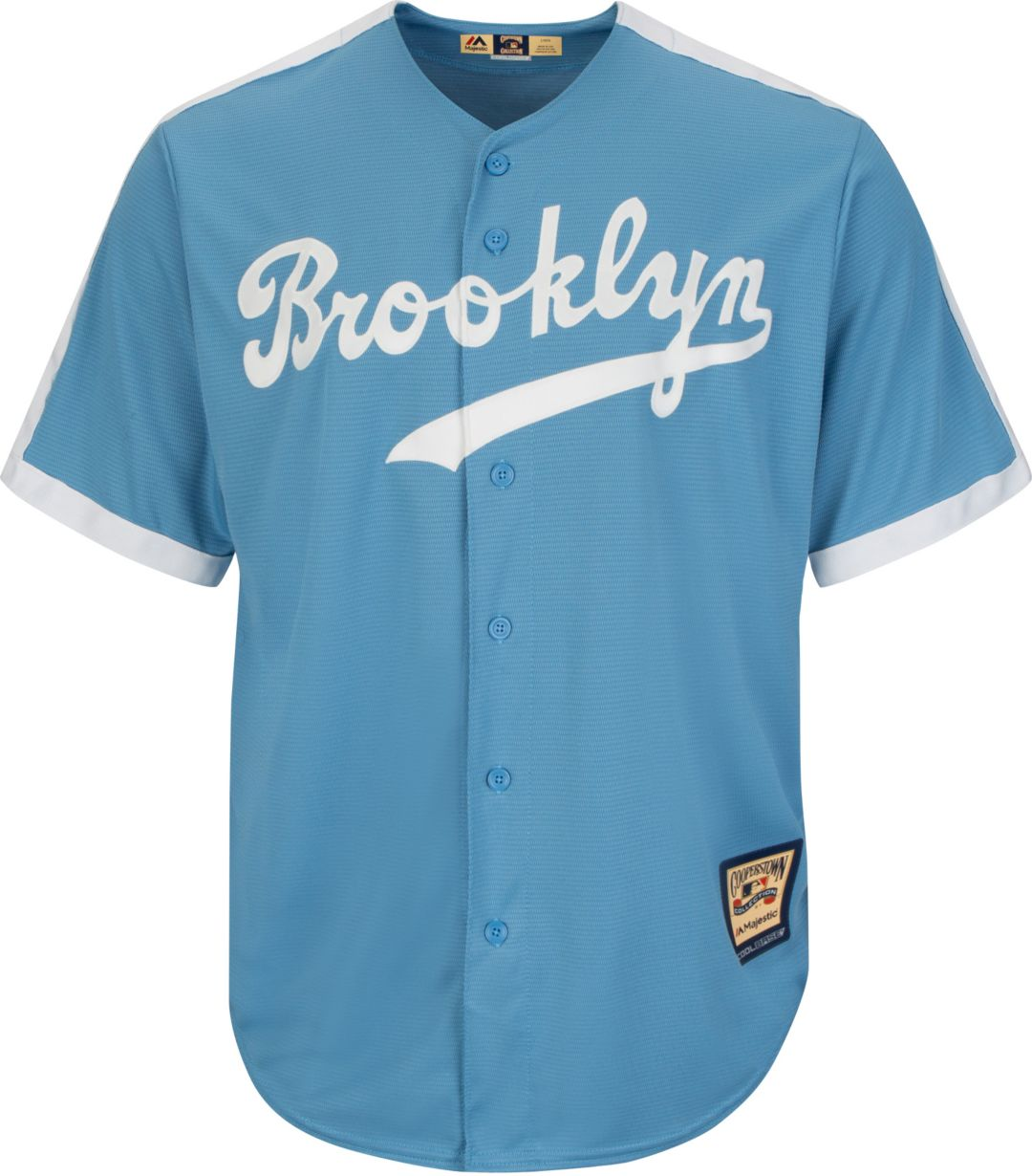 new style 0d93f 4656a Majestic Men's Replica Brooklyn Dodgers Jackie Robinson Cool Base Light  Blue Cooperstown Jersey
