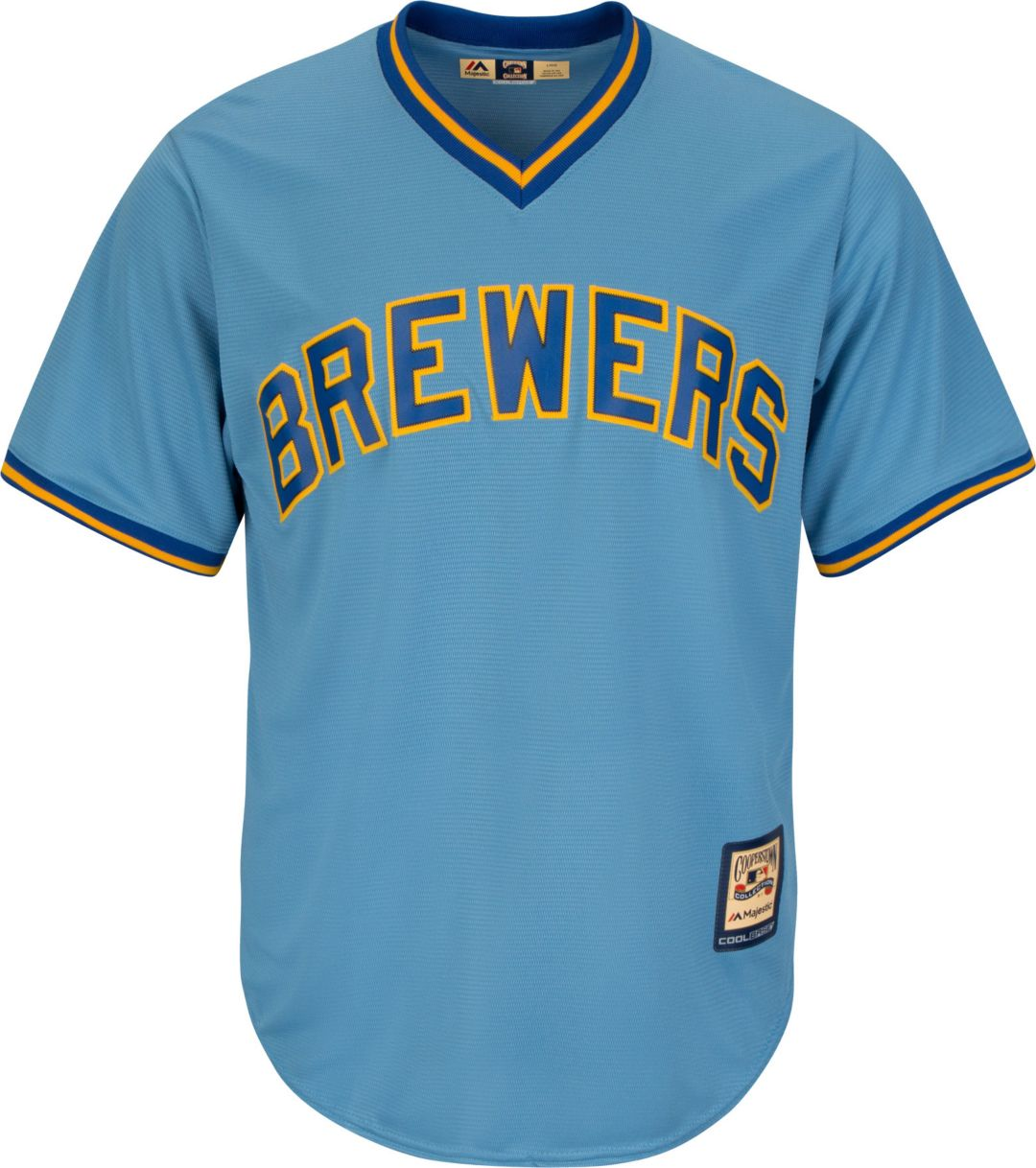 online store d2d2b 8ee61 Majestic Men's Replica Milwaukee Brewers Cool Base Light Blue Cooperstown  Jersey