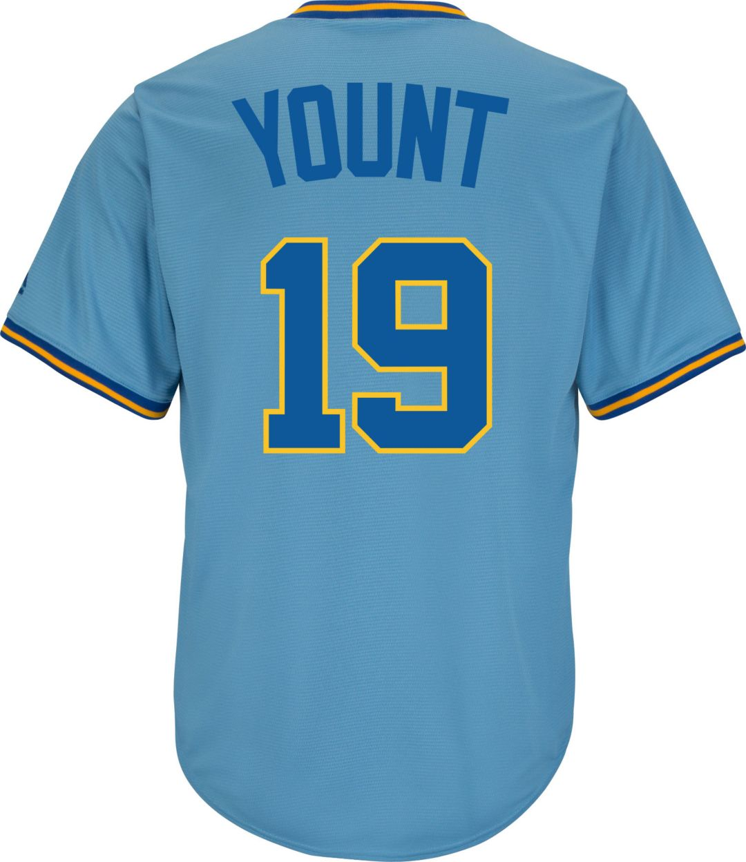 new concept 41e12 cbe35 Majestic Men's Replica Milwaukee Brewers Robin Yount Cool Base Light Blue  Cooperstown Jersey