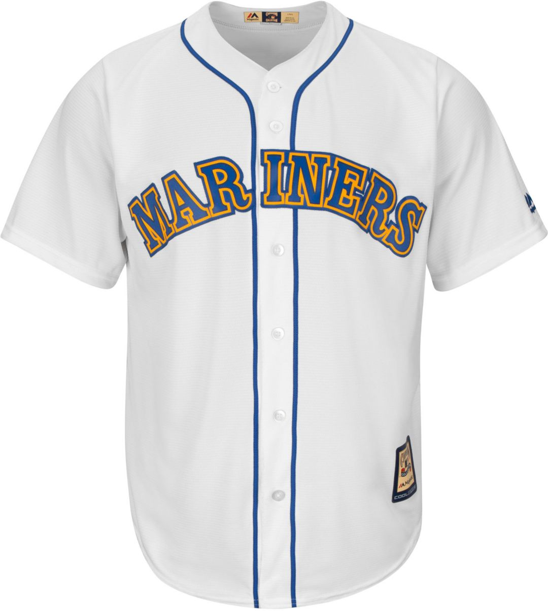 cheap for discount 655bb 258af Majestic Men's Replica Seattle Mariners Ken Griffey Jr. Cool Base White  Cooperstown Jersey