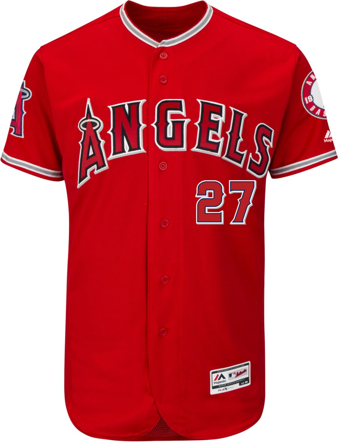 brand new 5d4b8 af74c Majestic Men's Authentic Los Angeles Angels Mike Trout #27 Alternate Red  Flex Base On-Field Jersey