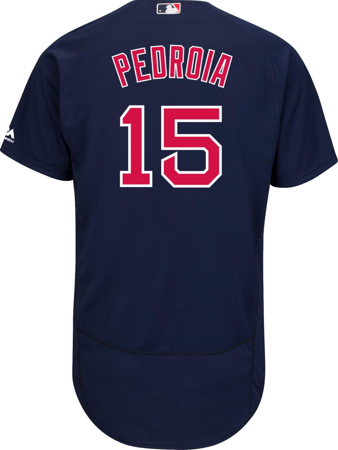 47cce8818 Majestic Men's Authentic Boston Red Sox Dustin Pedroia #15 Alternate Navy Flex  Base On-