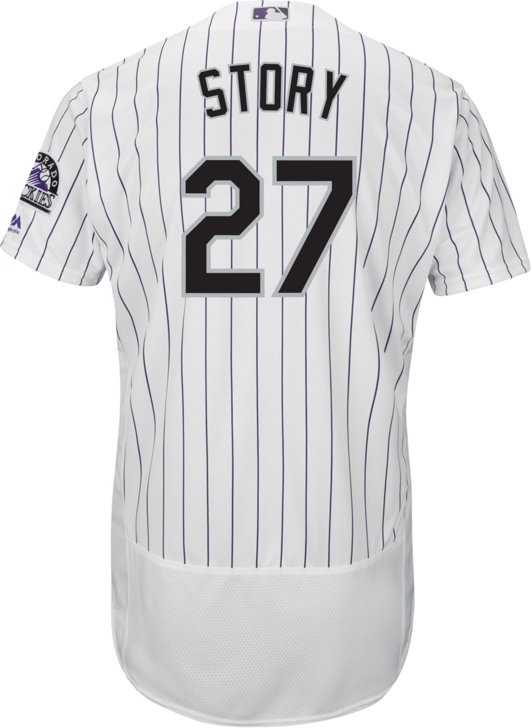 low priced ad8c0 ec402 Majestic Men's Authentic Colorado Rockies Trevor Story #27 Flex Base Home  White On-Field Jersey