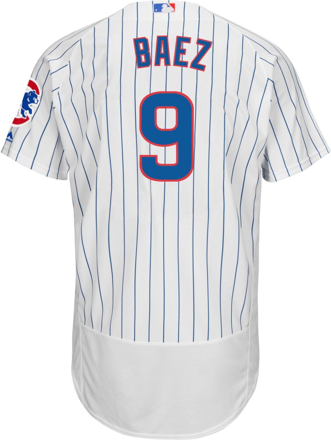 huge discount e79f0 ef950 Majestic Men's Authentic Chicago Cubs Javier Baez #9 Home White Flex Base  On-Field Jersey