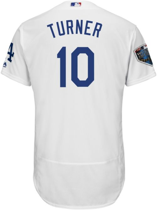 ce5b95b2daf Majestic Men s 2018 World Series Authentic Los Angeles Dodgers Justin  Turner Flex Base Home White On-Field Jersey. noImageFound. Previous. 1. 2. 3